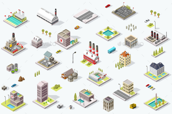 Isometric City Map Collection - Buildings Objects