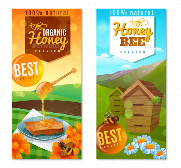Organic Honey Vertical Banners - Food Objects