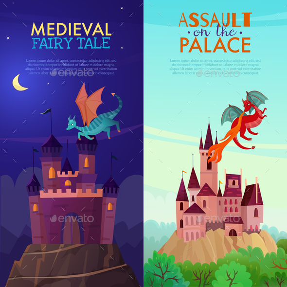 Medieval Vertical Banners Set - Animals Characters