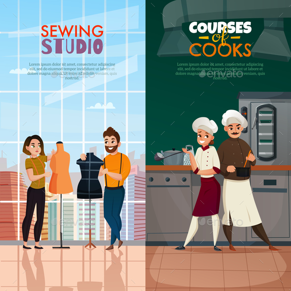 Cooks Tailors Banners Set - People Characters