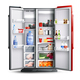 Red Open Refrigerator With Products