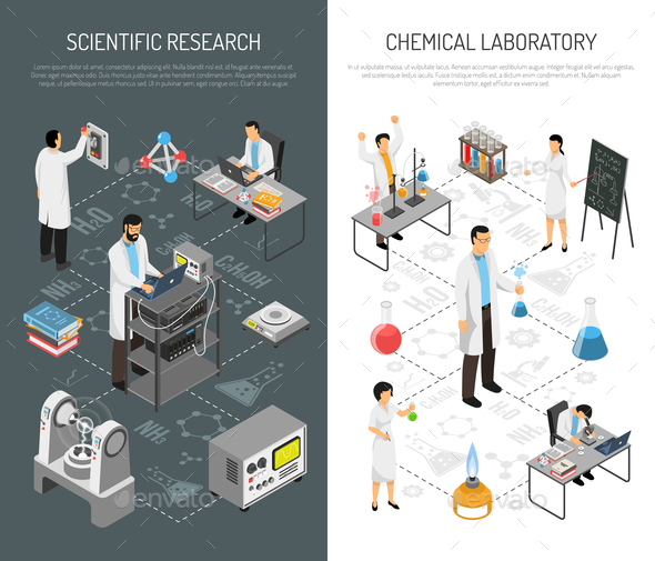 Scientific Research Vertical Banners - Miscellaneous Vectors