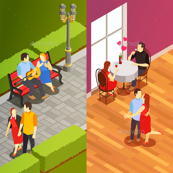 Dating Isometric Vertical Banners - Business Conceptual