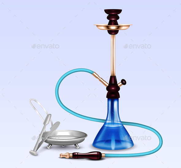 Hookah Smoking Accessories Realistic Set - Man-made Objects Objects