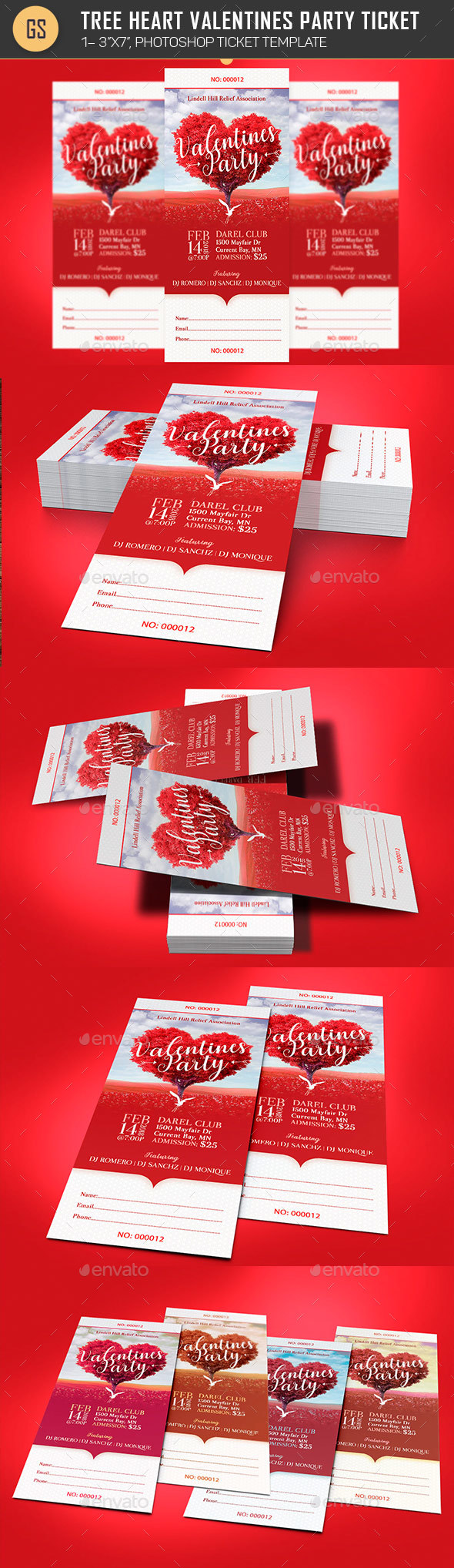 Tree Heart Valentines Party Ticket Template   Miscellaneous Print Templates  Party Ticket Template