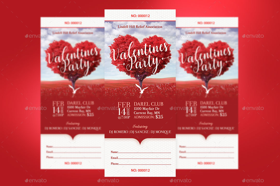Preview Image Set/Tree Heart Valentines Party Ticket  Preview 2 Preview  Image Set/Tree Heart Valentines Party Ticket  Preview Set 1 ...  Party Ticket Template