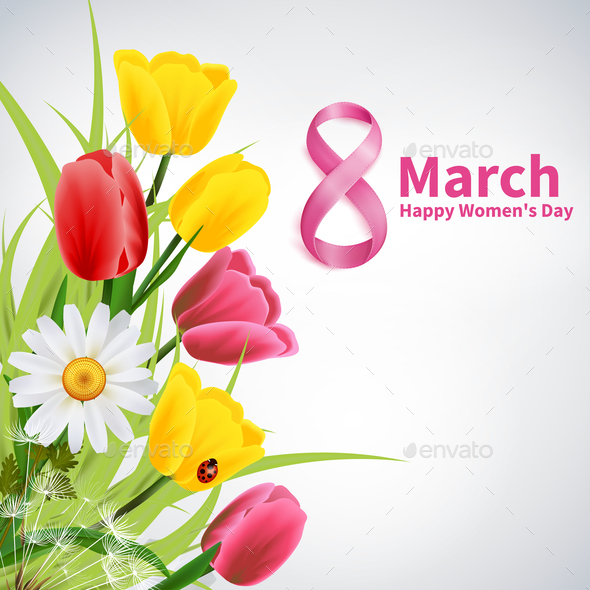 8 March Happy Womens Day Background - Flowers & Plants Nature