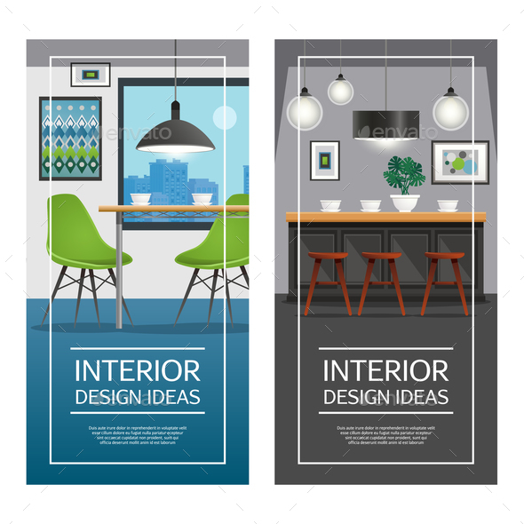 Kitchen Interior Design Vertical Banners - Miscellaneous Vectors