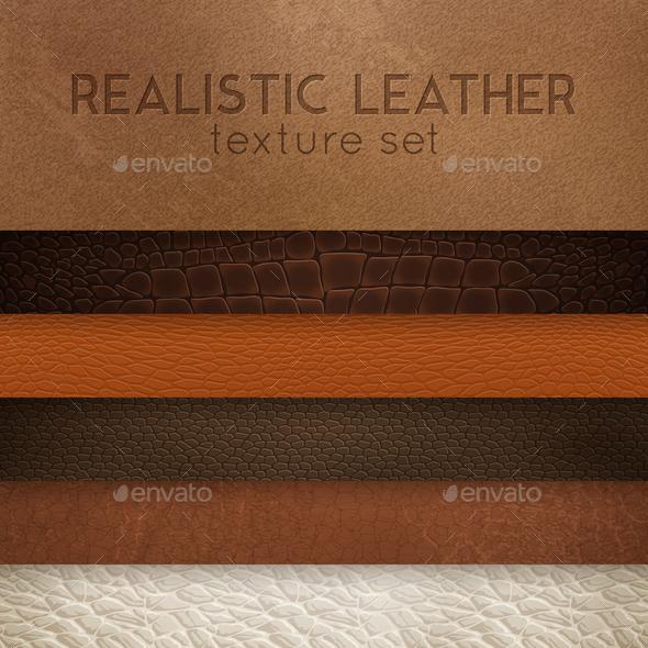 Leather Texture Realistic Samples Set - Miscellaneous Vectors