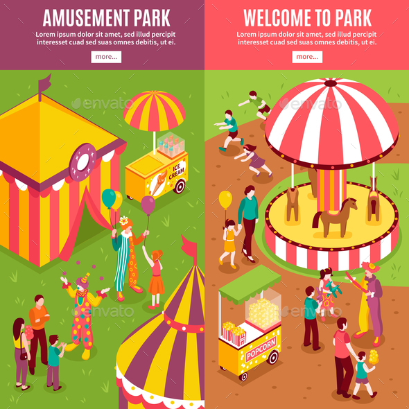 Isometric Amusement Park Banners - Business Conceptual