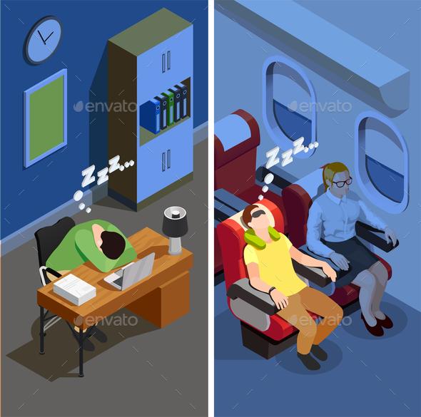 Sleep Isometric Vertical Banners - People Characters