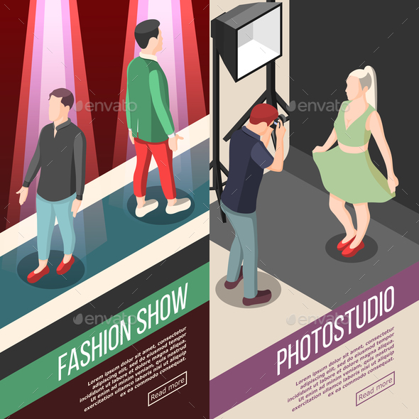 Fashion Industry Isometric Banners - Business Conceptual