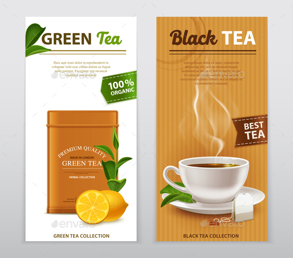 Tea Realistic Advertisement Banners Set - Food Objects