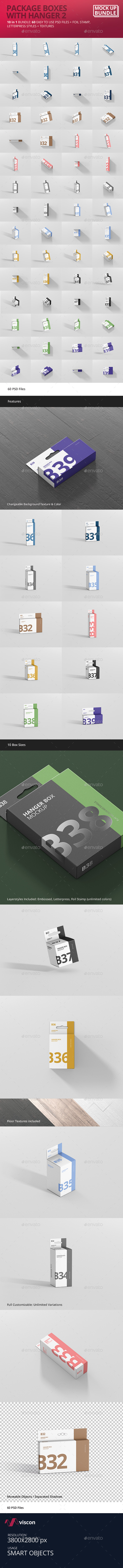 Box Mockup Bundle with Hanger 2 - Miscellaneous Packaging