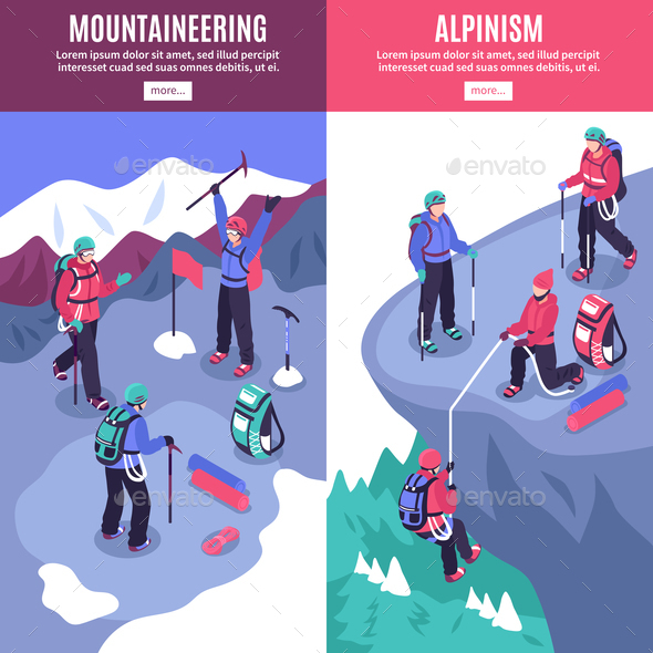 Mountain Tourism Vertical Banners - Sports/Activity Conceptual