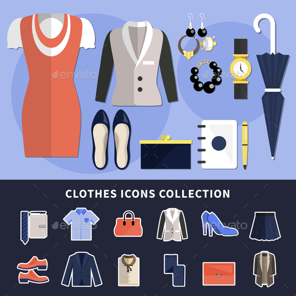 Clothes Icon Collection - Backgrounds Decorative