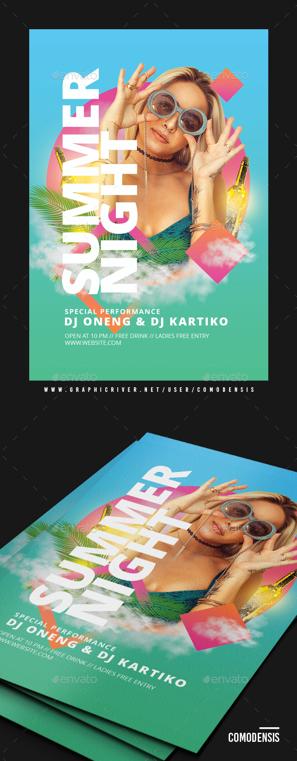Neon Bright Guest DJ Club Flyer - Clubs & Parties Events