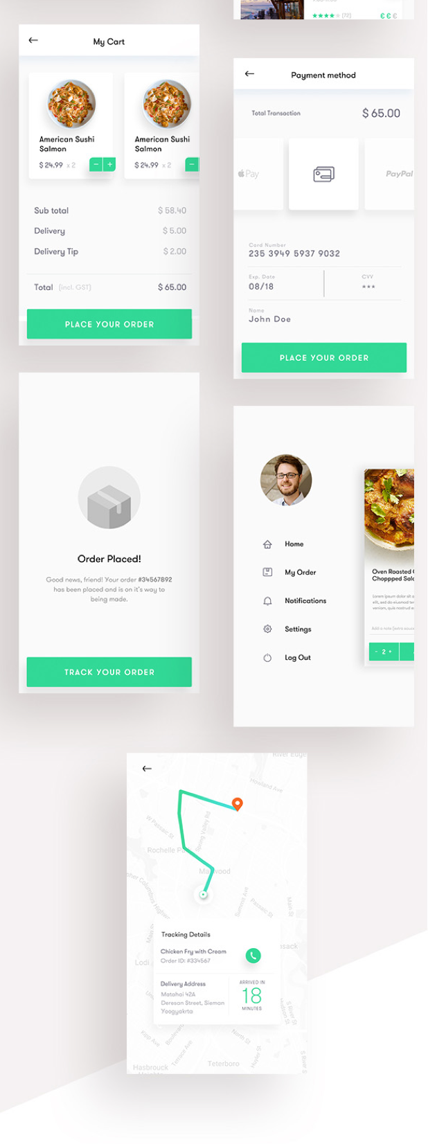Food Ordering & Delivery UI kit 17 Sketch - PSD Template