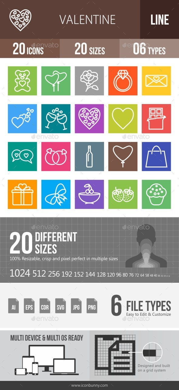 20 Valentine Line Multicolor B/G Icons - Icons