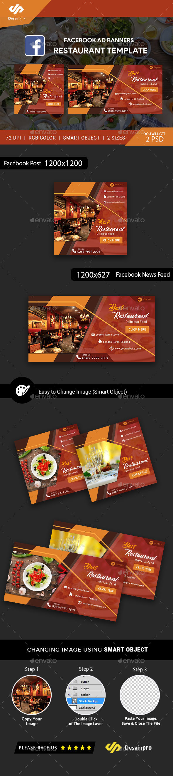 Restaurant FB Ad Banners - AR - Social Media Web Elements