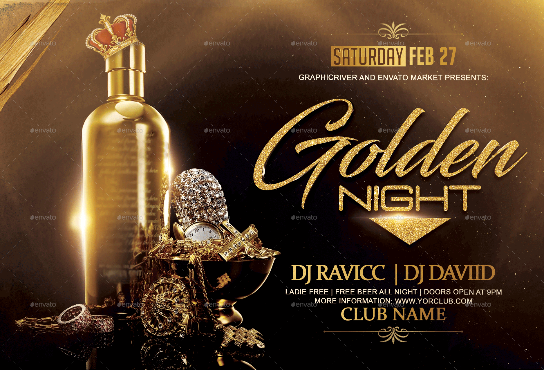 golden night flyer template by fas