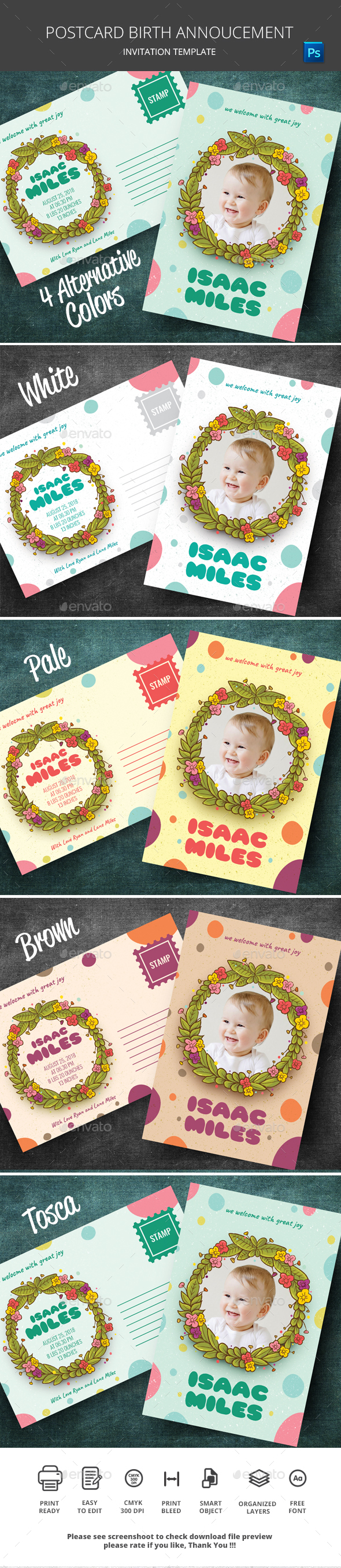 Postcard Birth Announcement - Events Flyers