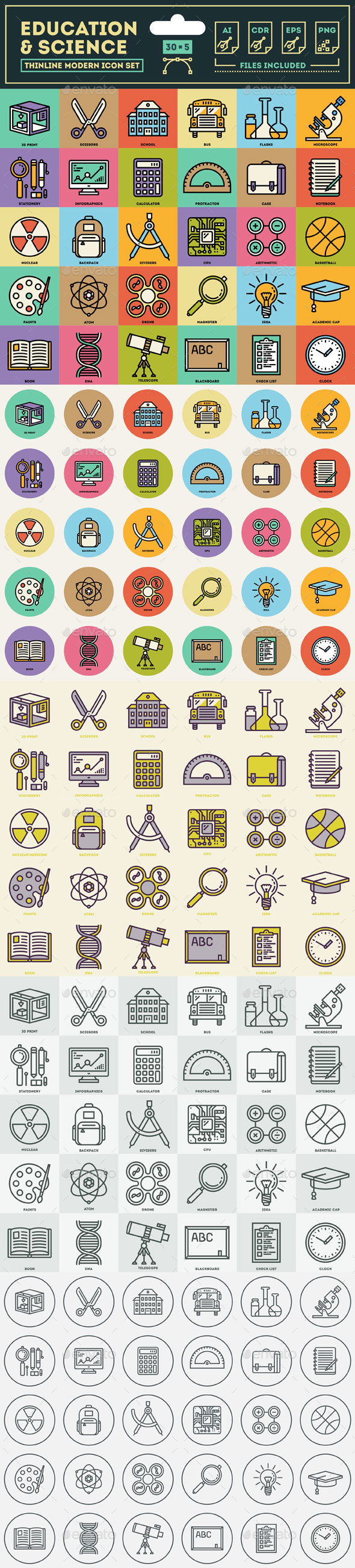 Education & Science Icon Set - Technology Conceptual