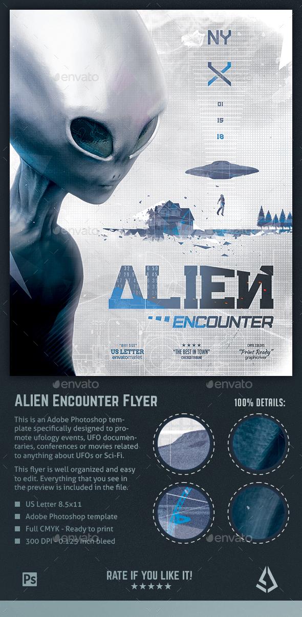 Alien Encounters Flyer - UFO Ufology Sci-Fi Poster Template - Events Flyers