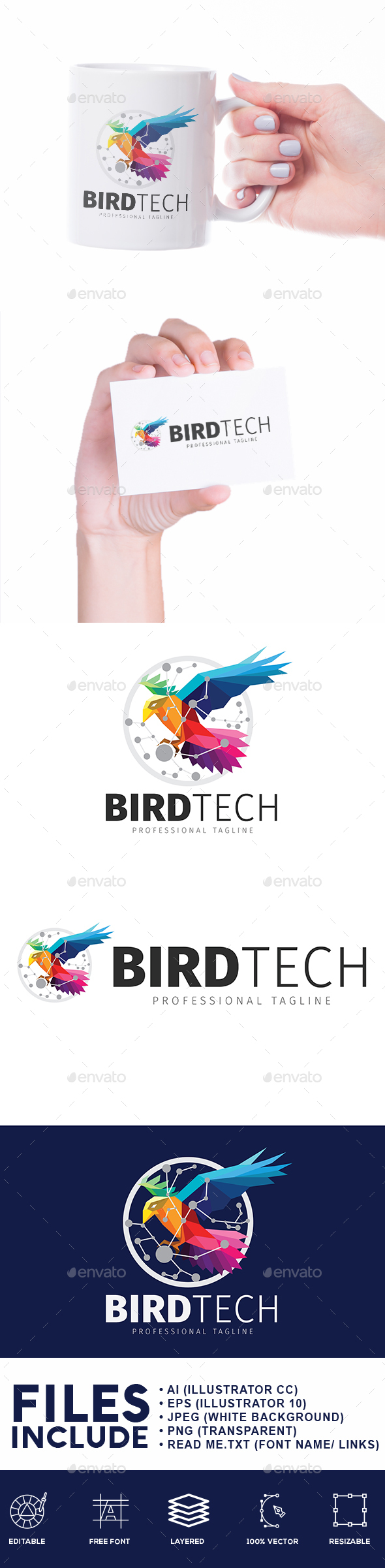 Bird Technology Logo - Animals Logo Templates