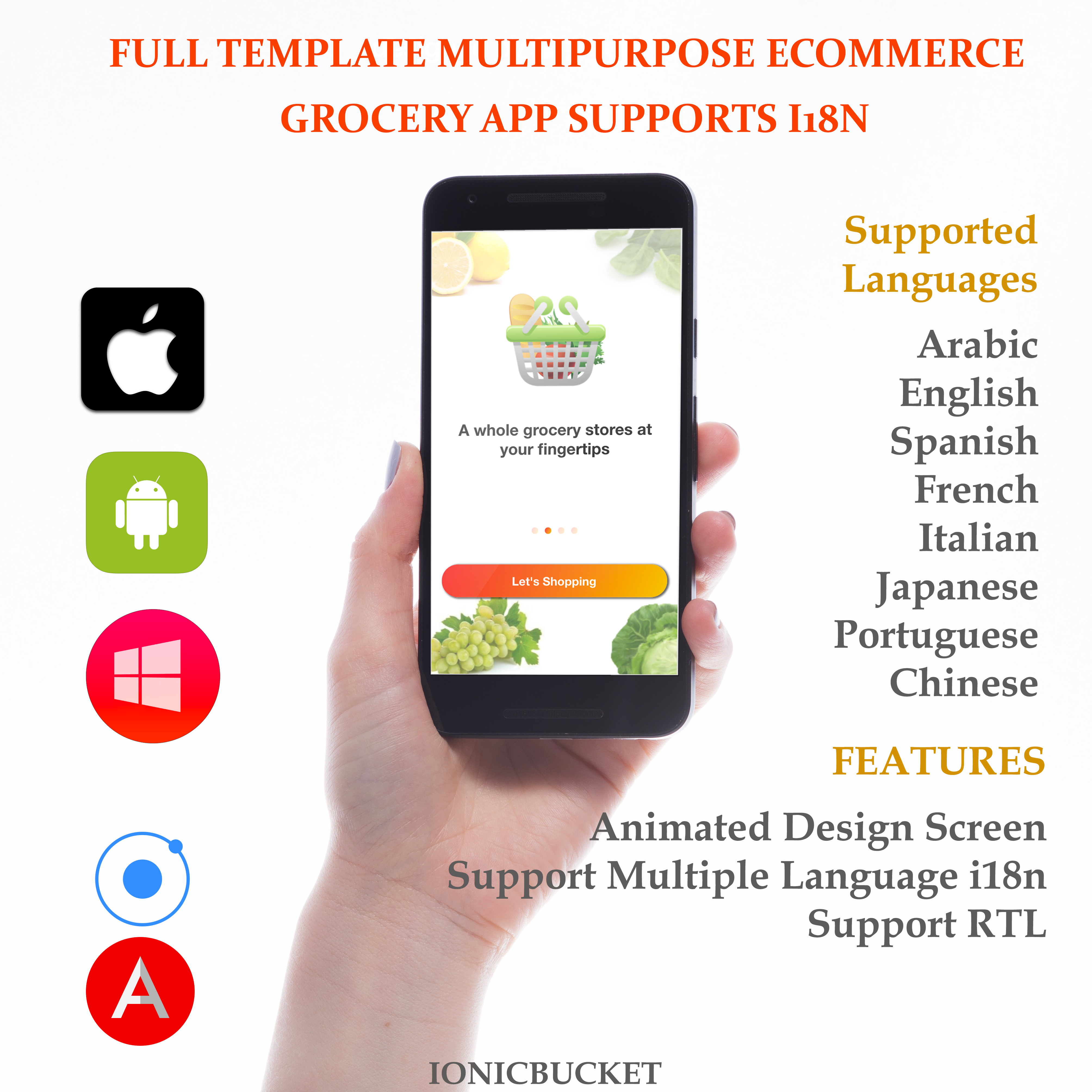 Complete Multipurpose eCommerce Template UI Grocery App Supports ...