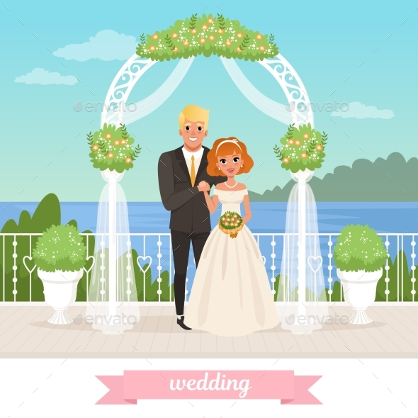 Bride and Groom Standing Under Floral Arch - Weddings Seasons/Holidays
