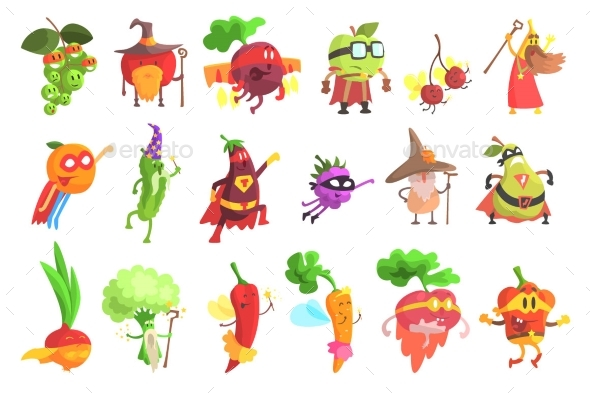 Silly Fruit and Vegetable Characters Set - Miscellaneous Characters