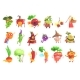 Silly Fruit and Vegetable Characters Set