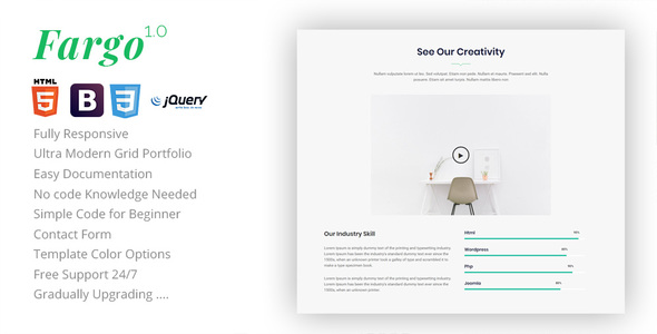 Fargo - One Page Landing Template - Corporate Site Templates