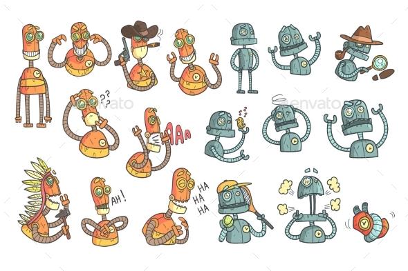 Orange Robot Set Of Cartoon Outlines Portraits - Miscellaneous Characters
