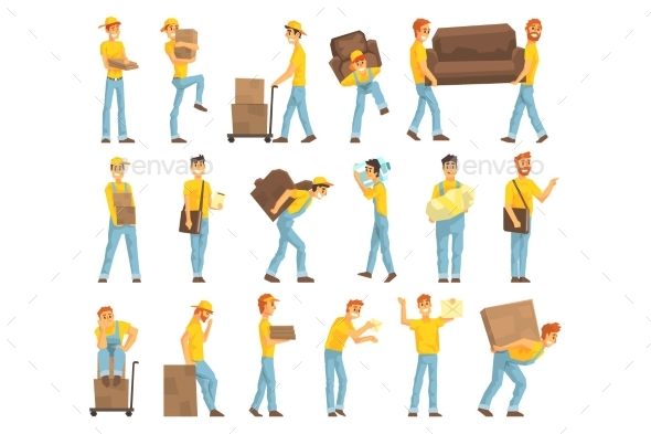 Delivery and Moving Company Employees Carrying - People Characters