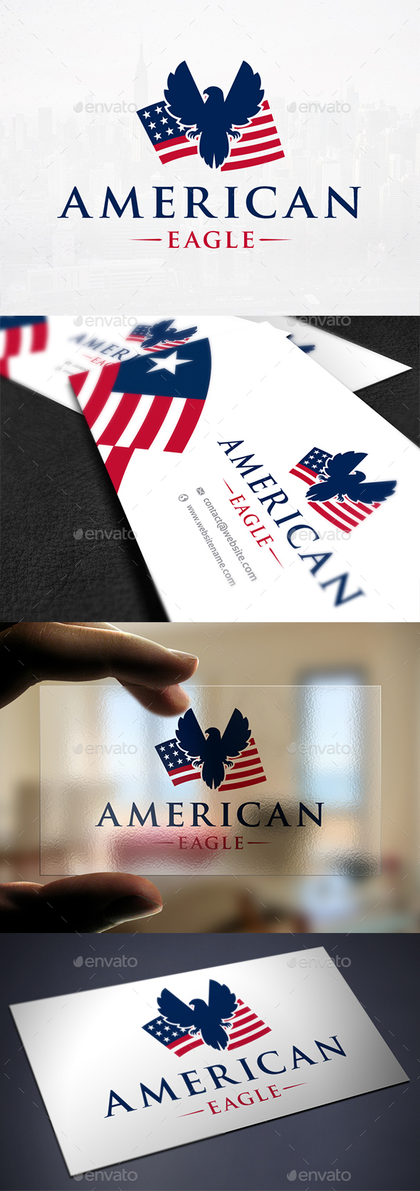 Patriotic Eagle Flag Logo - Symbols Logo Templates