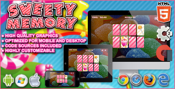 Sweety Memory - Construct 2 HTML5 Game - CodeCanyon Item for Sale
