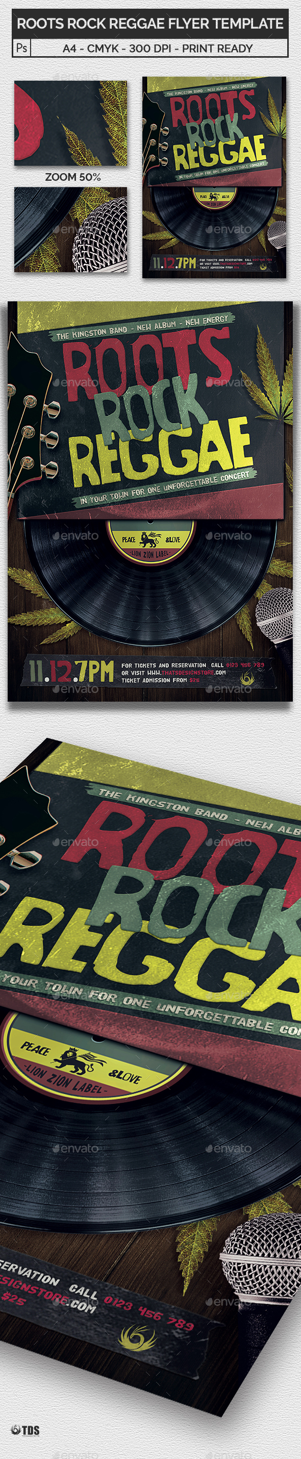 Roots Rock Reggae Flyer Template - Concerts Events