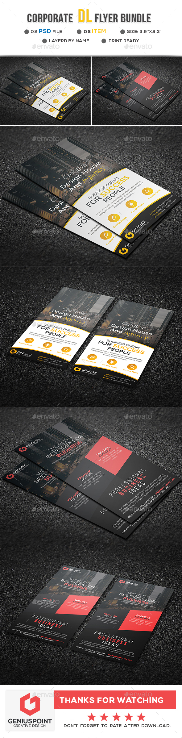 Corporate DL Flyer Bundle - Flyers Print Templates