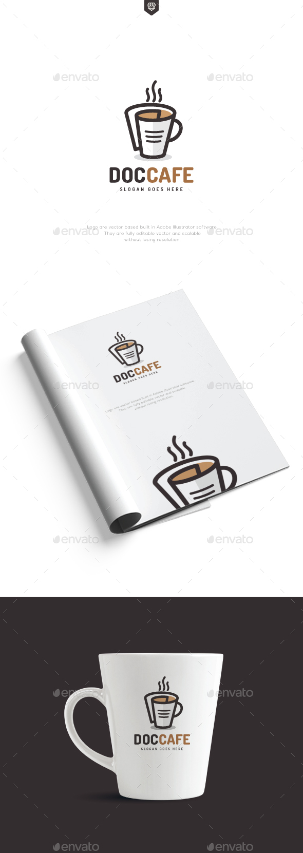 Document Cafe Logo - Food Logo Templates
