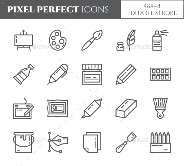 Art Supplies Theme Pixel Perfect Thin Line Icons. - Miscellaneous Icons
