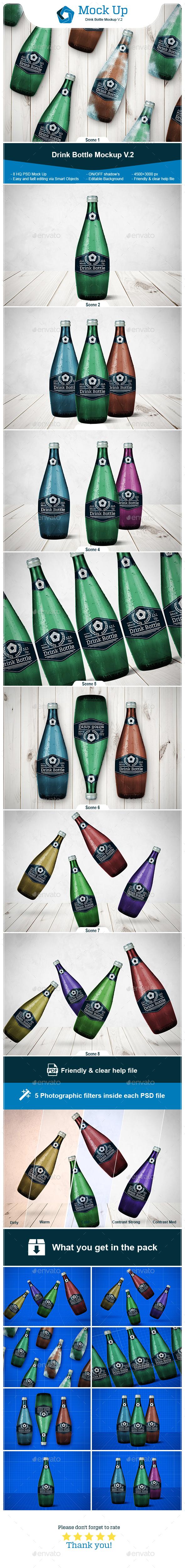 Drink Bottle Mockup V.2 - Food and Drink Packaging