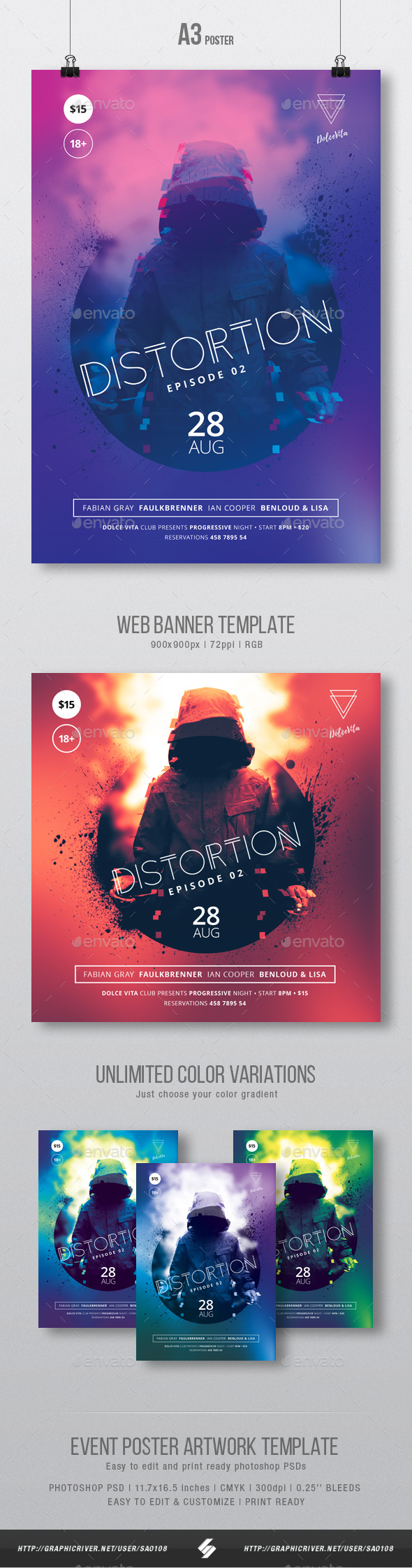 Distortion 2 - Underground Party Flyer / Poster Template A3 - Clubs & Parties Events