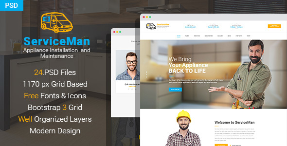 ServiceMan - Household Appliance Installation and Maintenance PSD Template - Business Corporate