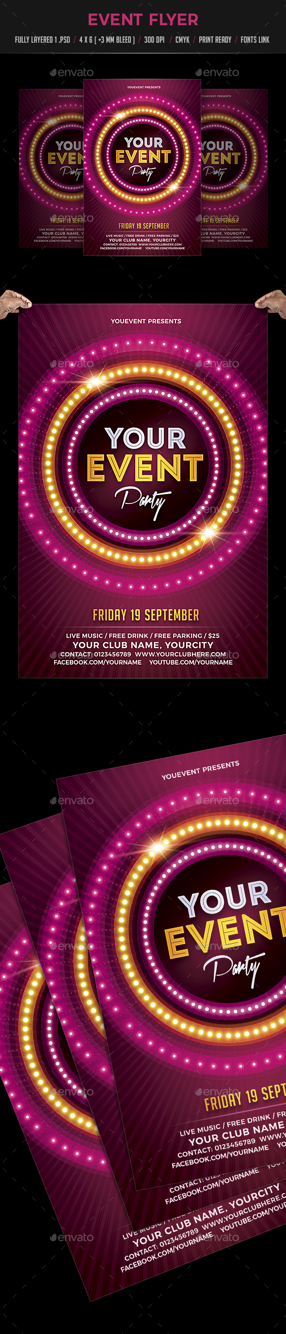 Event / Night / Neon Party Flyer - Flyers Print Templates