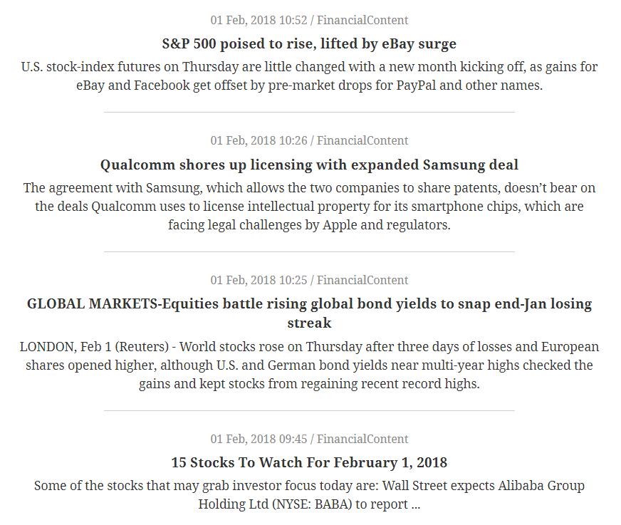 Stock Market & Financial News Headlines | WordPress Plugin