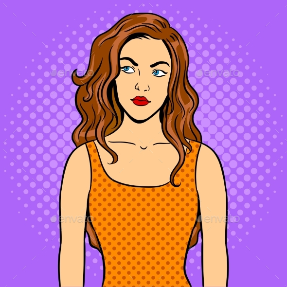 Thoughtful Girl Pop Art Vector Illustration - People Characters