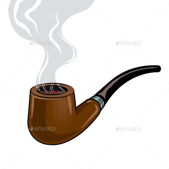 Smoking Pipe Pop Art Vector Illustration - Man-made Objects Objects