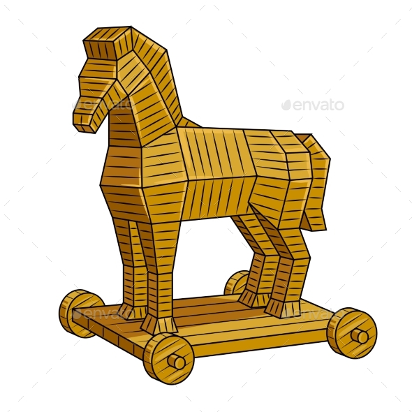 Trojan Horse Pop Art Vector Illustration - Man-made Objects Objects